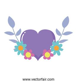 purple heart love flowers foliage isolated icon design white background