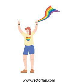 lgbtq community pride, young woman with rainbow flag cartoon isolated icon design