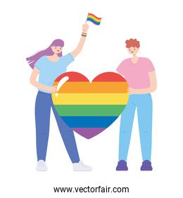 LGBTQ community, young women holds rainbow heart love, gay parade sexual discrimination protest