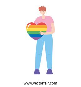 lgbtq community pride  young man with rainbow heart isolated icon design