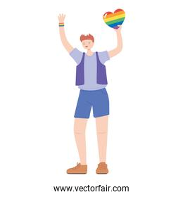 lgbtq community pride, young man with rainbow heart character isolated icon design