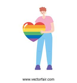 lgbtq community pride, young man with huge rainbow heart character isolated icon design