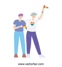 lgbtq community pride, young men with rainbow flag isolated icon design