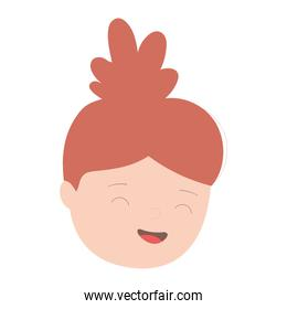 young woman face cartoon character isolated icon design