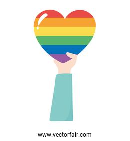 lgbtq community pride, hand with rainbow heart parade celebration isolated icon design