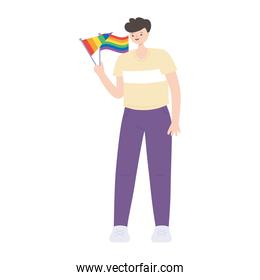 lgbtq community pride, young man with rainbow flags character isolated icon design