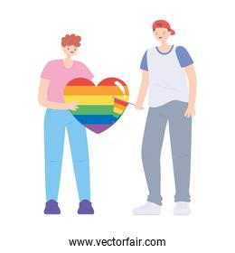 LGBTQ community, celebrating young people with heart flag rainbow, gay parade sexual discrimination protest