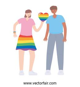 LGBTQ community, woman with rainbow skirt colors and heart young man cartoon, gay parade sexual discrimination protest