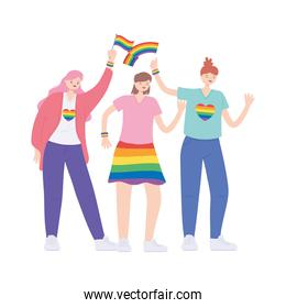 young women with rainbows flag, gay parade sexual discrimination protest