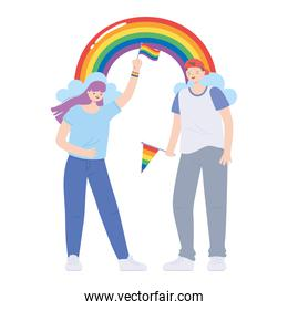 LGBTQ community, gay man and a lesbian girl holding a rainbow flag, parade sexual discrimination protest