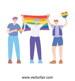 LGBTQ community, young men character with rainbow flags and heart, gay parade sexual discrimination protest