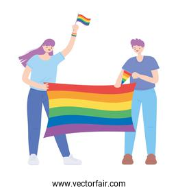 LGBTQ community, happy man and woman with rainbow flag celebration over white