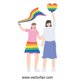 LGBTQ community, young women holding rainbow heart and flag celebration over white, gay parade sexual discrimination protest