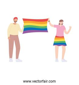 man and woman diversity with rainbow flag, gay parade sexual discrimination protest