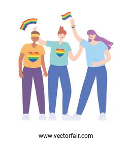 LGBTQ community, lesbians group with rainbow flags over white