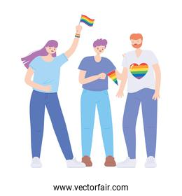 LGBTQ community, happy group people with rainbow flags over white