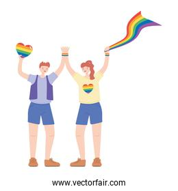 LGBTQ community, happy man and woman with rainbow flag and heart, gay parade sexual discrimination protest