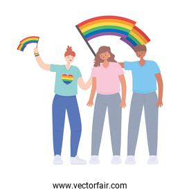 people holding rainbow lgbtq flag in hands, gay parade sexual  protest