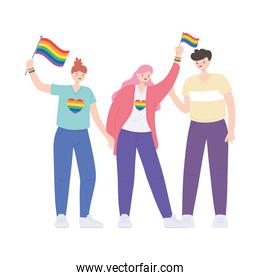 LGBTQ community, activists participating in lgbtq pride with rainbow flags