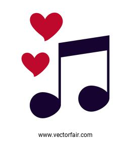 love heart romantic feeling note music melody flat style icon