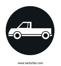 car pickup model transport vehicle block and flat style icon design