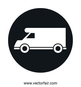 car campervan model transport vehicle block and flat style icon design