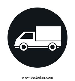 car cargo truck model transport vehicle block and flat style icon design