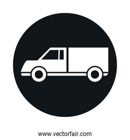 car lorry model transport vehicle block and flat style icon design