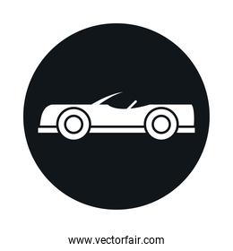 car roadster model transport vehicle block and flat style icon design