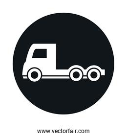 car trailer head truck model transport vehicle block and flat style icon design