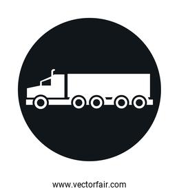 car truck container model transport vehicle block and flat style icon design