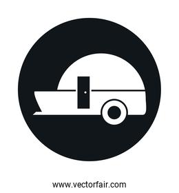 trailer travel model transport vehicle block and flat style icon design