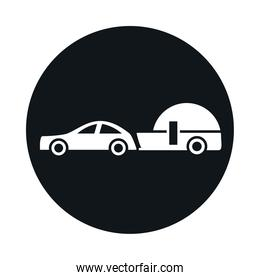 car with trailer model transport vehicle block and flat style icon design