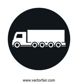 shipping delivery truck transport vehicle block and flat style icon design