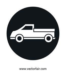 car pickup truck transport vehicle block and flat style icon design