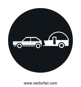 car trailer journey transport vehicle block and flat style icon design
