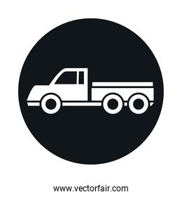 car delivery pick up model transport vehicle block and flat style icon design