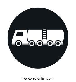 tanker truck model transport vehicle block and flat style icon design