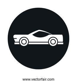 car classic model transport vehicle block and flat style icon design