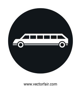 car limousine model transport vehicle block and flat style icon design