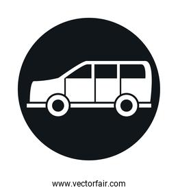 car suv transport vehicle block and flat style icon design