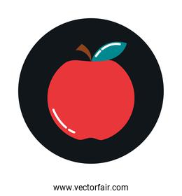 fruit apple fresh nutrition diet block and flat style icon