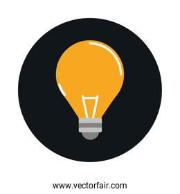 light bulb electricity power block and flat style icon