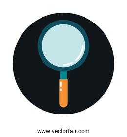 magnifying glass search discovery block and flat style icon