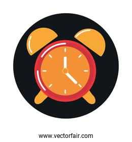 alarm clock time reminder block and flat style icon