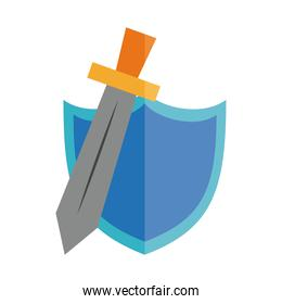cartoon sword and shield toy object for small children to play, flat style icon