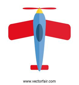 cartoon airplane toy object for small children to play, flat style icon
