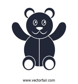 cartoon teddy bear toy object for small children to play, silhouette style icon
