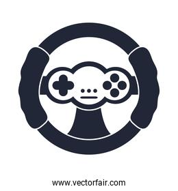 cartoon steering wheel control video game toy object for children to play, silhouette style icon