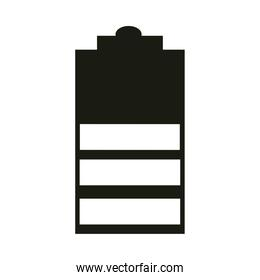 mobile application battery low charged web button menu digital silhouette style icon